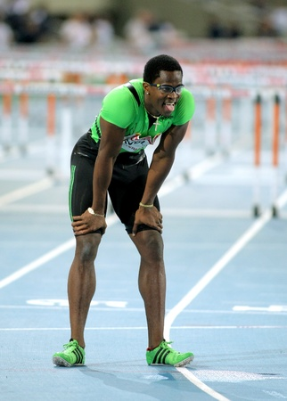 Dayron Robles of Cuba after of his failure on 110m hurdles Event of Barcelona Athletics meeting at the Olympic Stadium on July 22, 2011 in Barcelona, Spain