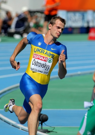olympic sports: Dmytro Ostrovskyy of Ukraine compete in the Men 400m during the 20th European Athletics Championships at the Olympic Stadium on July 27, 2010 in Barcelona, Spain Editorial