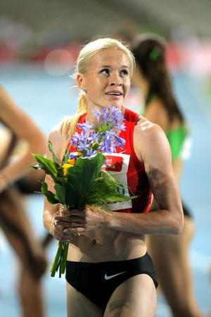 Ekaterina Gorbunova of Russia watch to the scoreboard after of 1500m Event of Barcelona Athletics meeting at the Olympic Stadium on July 22, 2011 in Barcelona, Spain