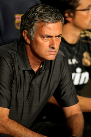 Jose Mourinho of Madrid during the Spanish Supercup football match between Barcelona vs Real Madrid at the New Camp Stadium in Barcelona, on August 17, 2011 Stock Photo - 10623211