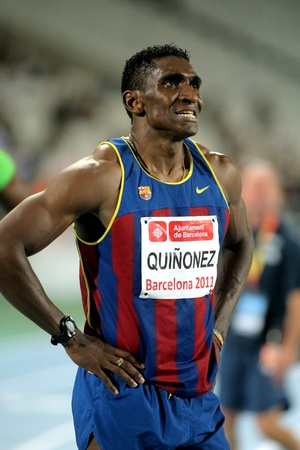Jackson Quinonez athlete of FC Barcelona watch to the scoreboard after of 110m hurdles Event of Barcelona Athletics meeting at the Olympic Stadium on July 22, 2011 in Barcelona, Spain