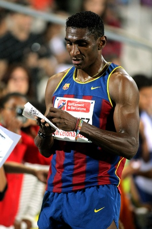Jackson Quinonez athlete of FC Barcelona signing autograph after of 110m hurdles Event of Barcelona Athletics meeting at the Olympic Stadium on July 22, 2011 in Barcelona, Spain