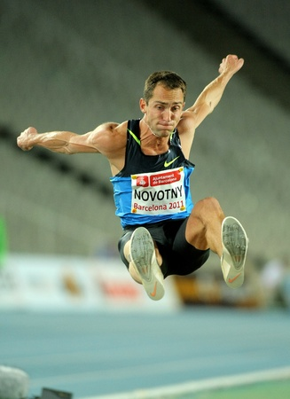 Roman Novotny of Czech Republic in action on Long Jump Event of Barcelona Athletics meeting at the Olympic Stadium on July 22, 2011 in Barcelona, Spain Editorial