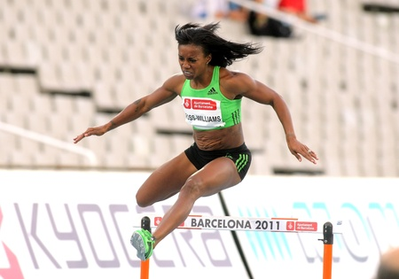 Tiffany Ross-Williams of USA during of 400m hurdles Event of Barcelona Athletics meeting at the Olympic Stadium on July 22, 2011 in Barcelona, Spain