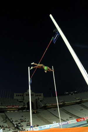 silva: Yarisley Silva of Cuba jumping on pole vault Event of Barcelona Athletics meeting at the Olympic Stadium on July 22, 2011 in Barcelona, Spain