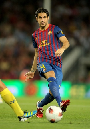 francesc: Cesc Fabregas of FC Barcelona in action during a Spanish League match between FC Barcelona and Villarreal at the Nou Camp Stadium on August 29, 2011 in Barcelona, Spain