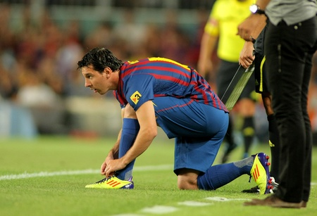 Leo Messi of FC Barcelona during Joan Gamper Trophy match between FC Barcelona and SSC Napoli at Nou Camp Stadium in Barcelona, Spain. August 22, 2011 Stock Photo - 10753046