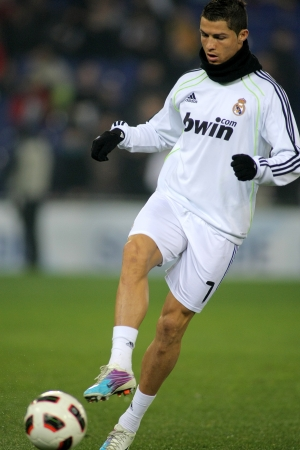 winger: Cristiano Ronaldo of Real Madrid before a spanish league match between Espanyol and Real Madrid at the Estadi Cornella on February 13, 2011 in Barcelona, Spain Editorial
