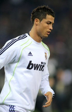 Cristiano Ronaldo of Real Madrid before a spanish league match between Espanyol and Real Madrid at the Estadi Cornella on February 13, 2011 in Barcelona, Spain