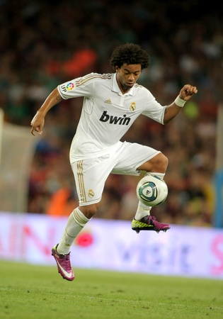 Marcelo Vieira of Real Madrid in action during the Spanish Supercup football match between FC Barcelona and R Madrid at the New Camp Stadium in Barcelona, on August 17, 2011