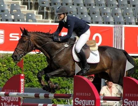 Blanca Gil Olive of Spain in action rides horse Jivaro Du Fraigneau during the 100th CSIO event at the Real Club de Polo Barcelona on September 23, 2011 in Barcelona, Spain