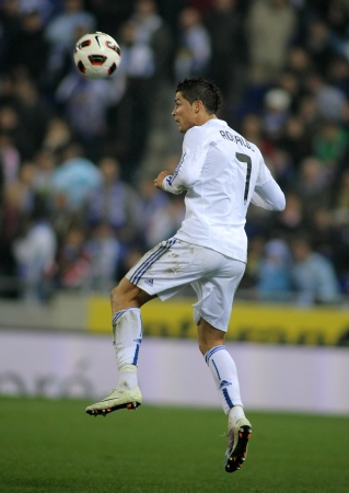 winger: Cristiano Ronaldo of Real Madrid in action during a spanish league match between Espanyol and Real Madrid at the Estadi Cornella on February 13, 2011 in Barcelona, Spain