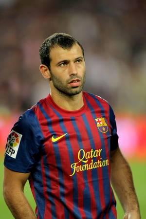 barsa: Javier Mascherano of FC Barcelona posing before the spanish league match against Osasuna at the Nou Camp Stadium on September 17, 2011 in Barcelona, Spain Editorial