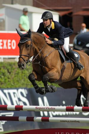 Cassio Rivetti of Ukraine in action rides horse Verdi during the 100th CSIO event at the Real Club de Polo Barcelona on September 23, 2011 in Barcelona, Spain