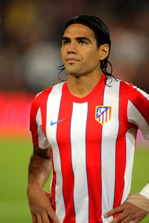 Radamel Falcao of Atletico Madrid posing   before the spanish league match against Atletico Madrid at the Nou Camp Stadium on September 24, 2011 in Barcelona, Spain
