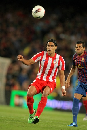 Radamel Falcao of Atletico Madrid in action  during the spanish league match against Atletico Madrid at the Nou Camp Stadium on September 24, 2011 in Barcelona, Spain Stock Photo - 10925469