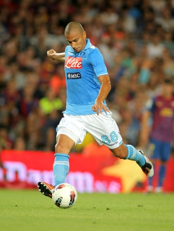 Gokhan Inler of SSC Napoli in action during  Joan Gamper Trophy match between FC Barcelona and SSC Napoli at Nou Camp Stadium in Barcelona, Spain. August 22, 2011