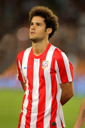 mario: Mario Suarez of Atletico Madrid posing before the spanish league match against Atletico Madrid at the Nou Camp Stadium on September 24, 2011 in Barcelona, Spain
