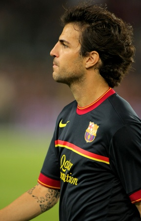 cesc: Cesc Fabregas of FC Barcelona before a Spanish League match against Atletico Madrid at the Nou Camp Stadium on September 24, 2011 in Barcelona, Spain Editorial