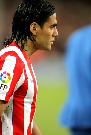 Radamel Falcao of Atletico Madrid before the spanish league match against Atletico Madrid at the Nou Camp Stadium on September 24, 2011 in Barcelona, Spain Stock Photo - 11117405