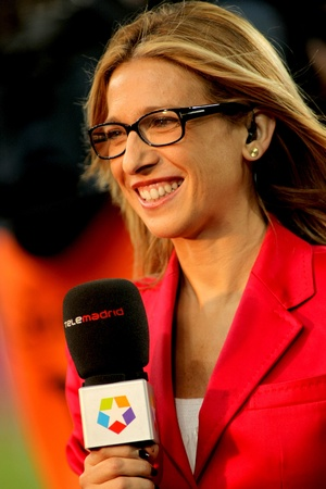Lola Hernandez of Telemadrid reports before the Spanish league match against Atletico Madrid at the Nou Camp Stadium on September 24, 2011 in Barcelona, Spain Stock Photo - 11215180