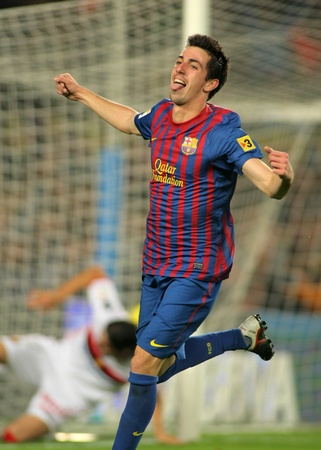 Isaac Cuenca of FC Barcelona celebrates goal  during the spanish league match against RCD Mallorca at the Nou Camp Stadium on October 29, 2011 in Barcelona, Spain