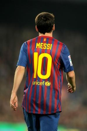 unicef: Back of Leo Messi del Barcellona durante la partita di campionato spagnolo tra FC Barcelona e RCD Mallorca al Camp Nou il 29 ottobre 2011 a Barcellona, ??Spagna Editoriali
