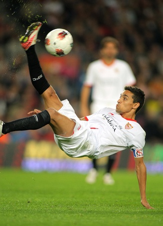 Jesus Navas of Sevilla FC in action during the spanish league match against FC Barcelona at the Nou Camp Stadium on October 22, 2011 in Barcelona, Spain