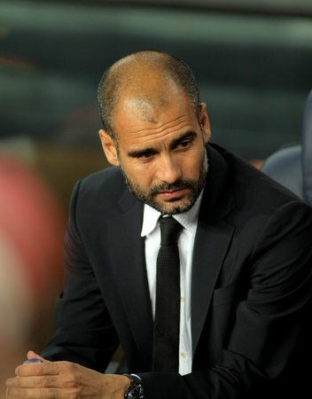pep: Josep Guardiola manager of FC Barcelona before the spanish league match against Osasuna at the Nou Camp Stadium on September 17, 2011 in Barcelona, Spain