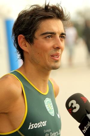 interviewed: Joao Silva of Portugal interviewed after of Barcelona Garmin Triathlon event at Barcelona beach on October 16, 2011 in Barcelona, Spain Editorial