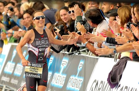 Ainhoa Murua of Spain in action finishing Barcelona Garmin Triathlon event at Barcelona beach on October 16, 2011 in Barcelona, Spain Stock Photo - 11458936