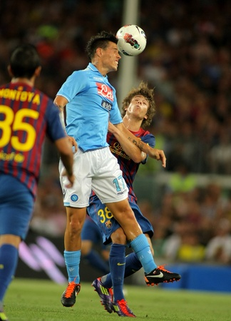 Marek Hamsik of SSC Napoli in action during   Joan Gamper Trophy match between FC Barcelona and SSC Napoli at Nou Camp Stadium in Barcelona, Spain. August 22, 2011
