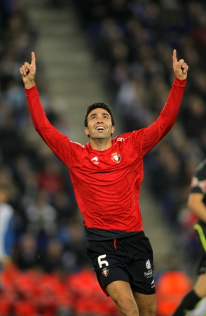 Javad Nekounam of Osasuna celebrates goal during a Spanish League match between Espanyol and Osasuna at the Estadi Cornella on November 27, 2011 in Barcelona, Spain