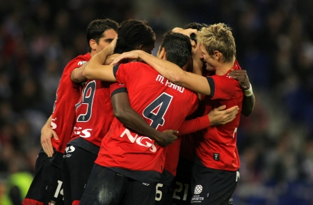 Osasuna players celebrating goal during a Spanish League match between Espanyol and Osasuna at the Estadi Cornella on November 27, 2011 in Barcelona, Spain