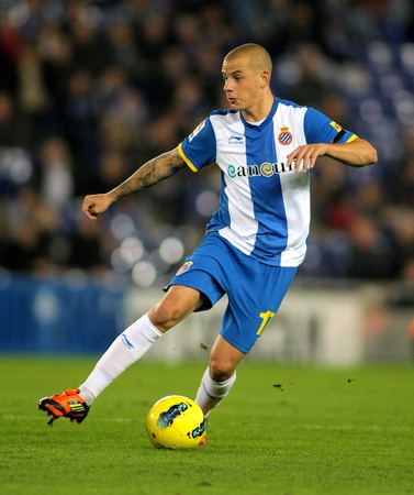Vladimir Weiss of Espanyol in action during a Spanish League match between Espanyol and Osasuna at the Estadi Cornella on November 27, 2011 in Barcelona, Spain