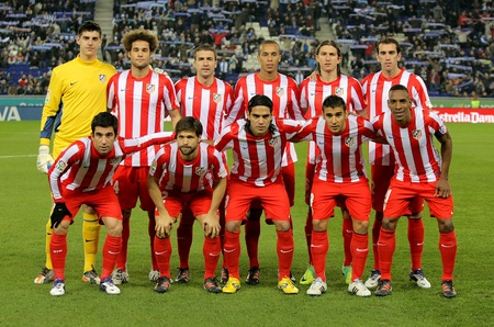 Atletico de Madrid team posing before a Spanish League match between Espanyol and Atletico Madrid at the Estadi Cornella on December 11, 2011 in Barcelona, Spain