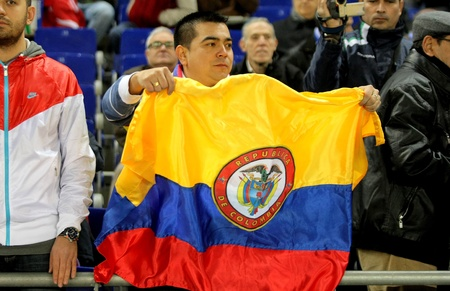 Colombian supporter of Atletico madrid player Radamel Falcao during a Spanish League match at the Estadi Cornella on December 11, 2011 in Barcelona, Spain