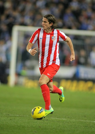 Filipe Luis Kasmirski of Atletico de Madrid in action during a Spanish League match between Espanyol and Atletico Madrid at the Estadi Cornella on December 11, 2011 in Barcelona, Spain
