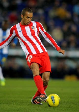Joao Miranda of Atletico de Madrid in action during a Spanish League match between Espanyol and Atletico Madrid at the Estadi Cornella on December 11, 2011 in Barcelona, Spain