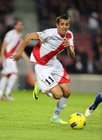 Pedro Silva Botelho of Rayo Vallecano in action during the spanish league match against FC Barcelona at the Nou Camp Stadium on November 29, 2011 in Barcelona, Spain