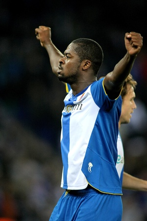 Koffi Ndri Romaric of RCD Espanyol in action during a Spanish League match between Espanyol and Atletico Madrid at the Estadi Cornella on December 11, 2011 in Barcelona, Spain Stock Photo - 11691579