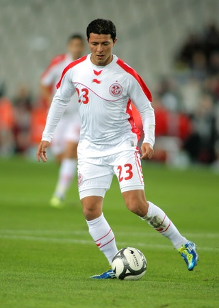 Tunisian player Amine Chermiti in action during the friendly match between Catalonia and  Tunisia at Olympic Stadium in Barcelona, Spain. Dec. 30, 2011