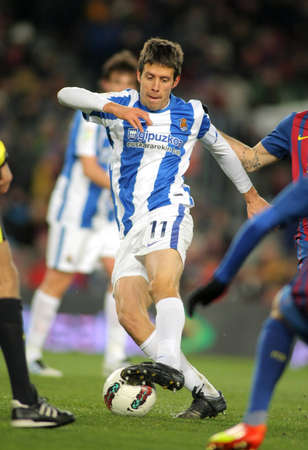 midfielder: Mikel Aramburu of Real Sociedad in action during Spanish league match against FC Barcelona at the Camp Nou stadium on February 4, 2012 in Barcelona, Spain Editorial