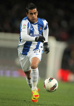 winger: Diego Ifran of Real Sociedad in action during the Spanish league match against FC Barcelona at the Camp Nou stadium on February 4, 2012 in Barcelona, Spain