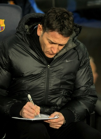 Philippe Montanier of Real Sociedad in action during the Spanish league match against FC Barcelona at the Camp Nou stadium on February 4, 2012 in Barcelona, Spain