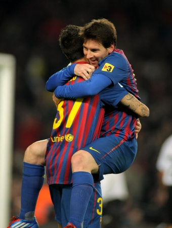 Leo Messi of FC Barcelona celebrating goal during the Spanish league match against Valencia CF at the Camp Nou stadium on February 19, 2012 in Barcelona, Spain