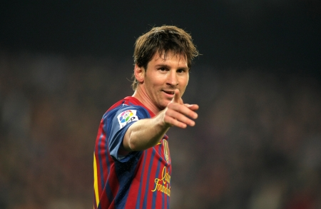 Leo Messi of FC Barcelona in action during the Spanish league match against Athletic Club Bilbao at the Camp Nou stadium on March 31, 2012 in Barcelona, Spain Editorial