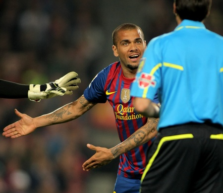 Dani Alves of Barcelona during the Spanish league match against Atheletic Bilbao at the Camp Nou stadium on March 31, 2012 in Barcelona, Spain