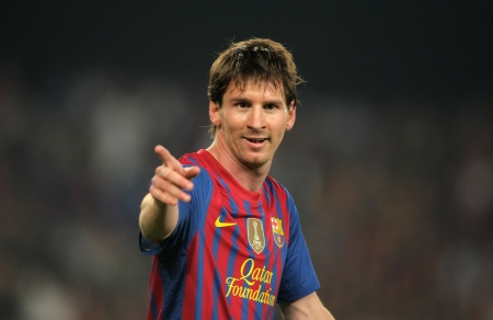 Leo Messi of FC Barcelona in action during the Spanish league match against Athletic Club Bilbao at the Camp Nou stadium on March 31, 2012 in Barcelona, Spain