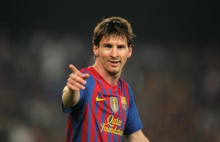 Striker: Leo Messi z FC Barcelona w akcji podczas hiszpańskiej meczu ligowym z Athletic Club Bilbao na stadionie Camp Nou w dniu 31 marca 2012 r. w Barcelonie, Hiszpania Publikacyjne